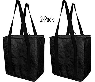 Earthwise Reusable Insulated Grocery Bags Heavy Duty Nylon Thermal Cooler Tote WATERPROOF In all Black w/ ZIPPER Closure KEEPS FOOD HOT OR COLD (2 Pack)