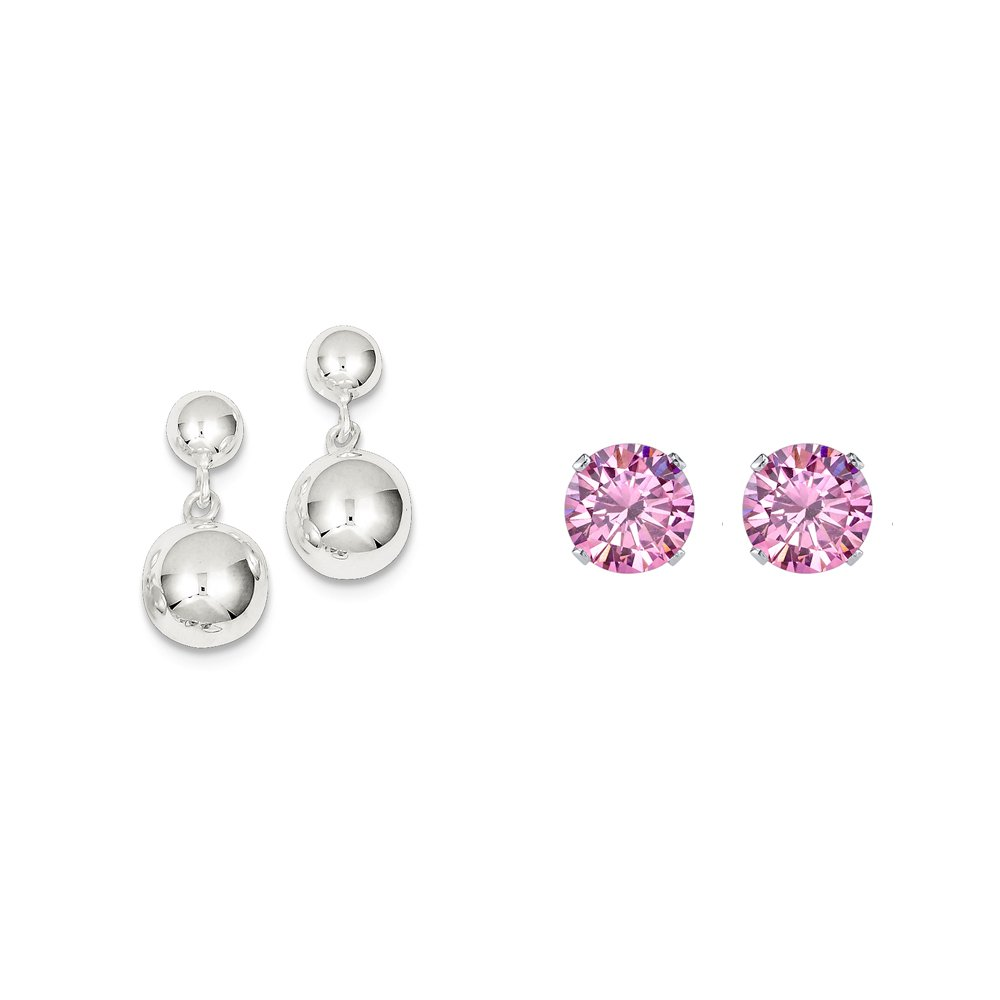 Sterling Silver Round Bead Dangle Post Earrings and a pair of Pink 4mm CZ Stud Earrings