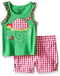 Kids Headquarters Baby Sleeveless Top with Woven Shorts, Green, 24 Months