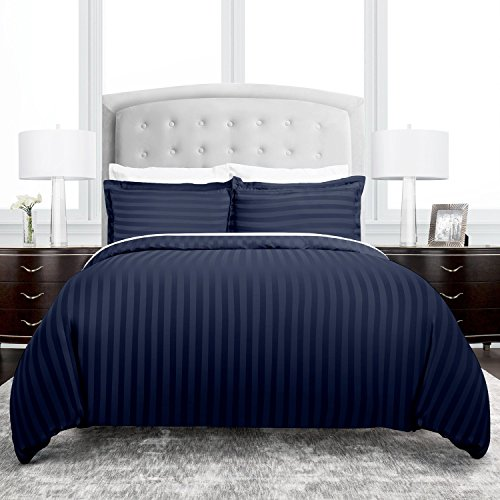 Beckham Hotel Collection Dobby Striped Duvet Cover Set - Luxury Soft Brushed Microfiber with Matching Shams - Hypoallergenic -Full/Queen - Navy