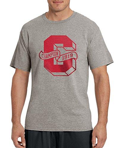 Champion Men`s Cotton-Rich Graphic T Shirt, GT81, M, Oxford Grey/Letterman