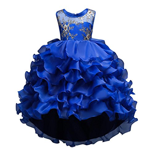 Sunward 2018 New 2-14 Years Girls Wedding Party Dress Pageant Baby Ruffles Tulle Princess Dresses (Blue, 14T) ()