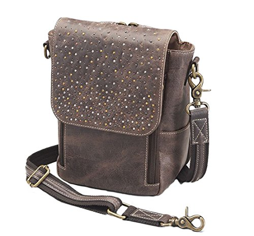 Concealed Carry Distressed Buffalo Leather Crossbody Satchel by Gun Tote'n Mamas by Gun Tote'n Mamas