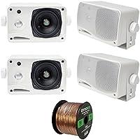 4 x New Pyle PLMR24 3.5 200 Watt 3-Way Weather Proof Marine Mini Box Speaker System (White), and Enrock Audio 16-Gauge 50 Foot Speaker Wire