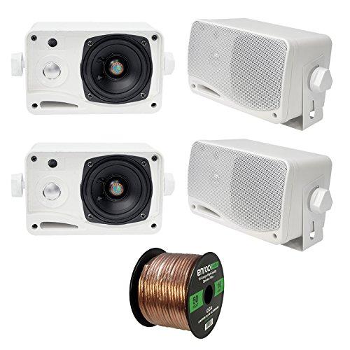 (4 x New Pyle PLMR24 3.5'' 200 Watt 3-Way Weather Proof Marine Mini Box Speaker System (White), and Enrock Audio 16-Gauge 50 Foot Speaker Wire)