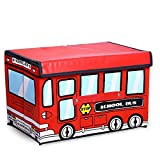 ZhenDuo School Bus Collapsible Foldable Portable Storage Box for Boy's Gifts Grandson Children's Toys Clothes Room Organizer