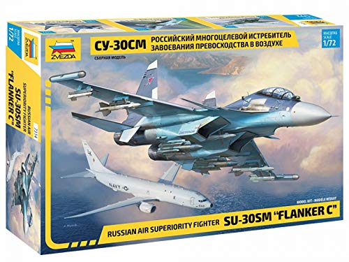 "Zvezda 7314 - Russian Air Superiority Fighter SU-30SM Flanker C- Plastic Model Kit Scale 1/72 Lenght 12.3"" / 31.4 cm 385 Details"