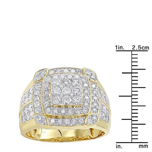 Mens Pinky Rings 10K Rose, White, Yellow Gold 2.5 Carat Diamond Band 2.5ctw (Yellow, Size 10) by Luxurman (Image #2)