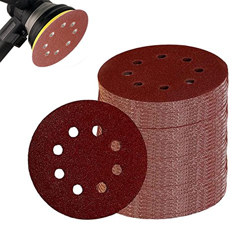100 Pieces Sanding Discs - 8 Holes and 5 Inches of 40 Grits Sandpaper For Power Random Orbit Sanders