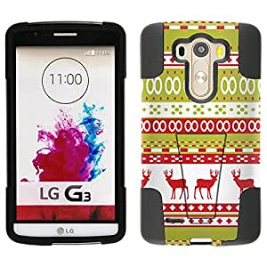 LG G3 Hybrid Case Knitted Red Reindeer Design 2 Piece Style Silicone Case Cover with Stand for LG G3