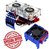 Powerhobby Traxxas Slash 4x4 Motor Cooling Fan/HeatSink Dual Twin Fan + Velineon VXL-3s ESC Cooling Fan Combo Blue