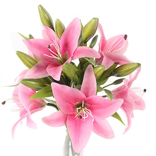 JAROWN 6 pcs Tiger Lily Artificial Real Touch Flowers Wedding Bouquets for Home Office Decoration(Dark Pink)