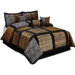 7 Piece MARTEN Fuax Fur Safari Patchwork Comforter Set- Queen King Cal.King Size (King, multicolor)