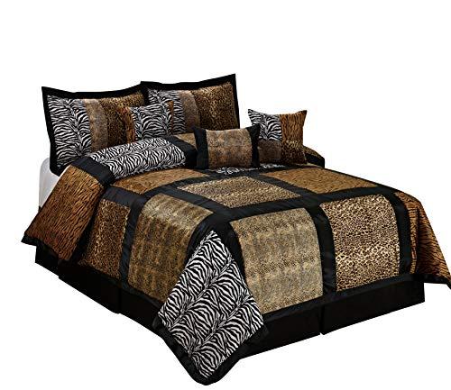 (7 Piece MARTEN Fuax Fur Safari Patchwork Comforter Set- Queen King Cal.King Size (Cal.King, multicolor))