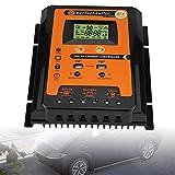 EECOO Driver de Carga Solar de 30 A/50 A/70 A MPPT Pantalla LCD de Cristal líquido Controlador Solar, Controlador de Carga y Descarga Solar con Doble Puerto USB 2.4V 12V/24V Identificación Automática