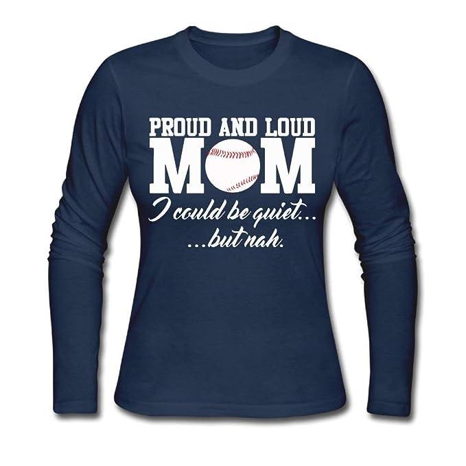 5b07393fc60e8 Amazon.com: Women's Proud and Loud Baseball Mom ComfortSoft Long ...