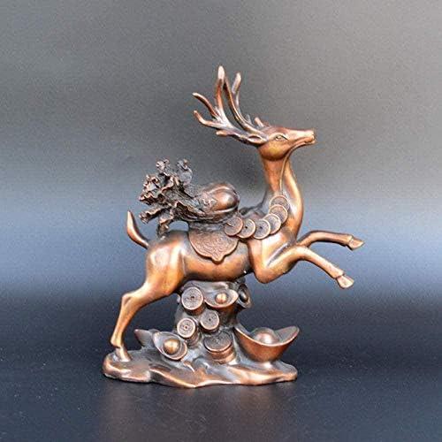 仏像彫像の装飾真鍮の鹿動物の装飾品ホームワインラック装飾彫刻