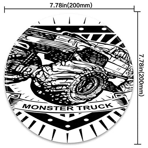 Round Mouse Pad Mousepad with Modern,Munster Truck Logo on Shield Flag Pattern Artisan Speed Sports Hobby Illustration,Black White Pattern Gel Rubber for Gaming Office - 200MMx3MM