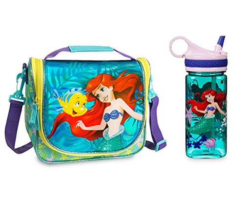 Disney Store The Little Mermaid Ariel and Flounder Lunch Bag and Water Bottle (Male Disney Character Names)