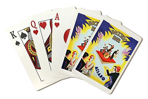 Bacchus Bar Vintage Poster (artist: Romoli) Italy (Playing Card Deck - 52 Card Poker Size with Jokers)