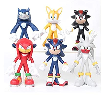 Amazon.com: Tails Amy Super Sonic PVC Action Figure The Hedgehog 6pcs/lot The Hedgehog Knuckles Shadow Dolls Model Toy: Toys & Games