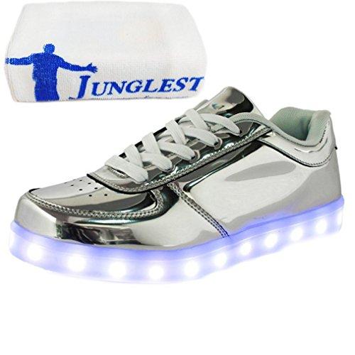 [Presente:pequeña toalla]JUNGLEST (TM) Unisex 7 Colors USB Carga LED Luz Luminosas Flash Zapatos Zapatillas de Depo c17