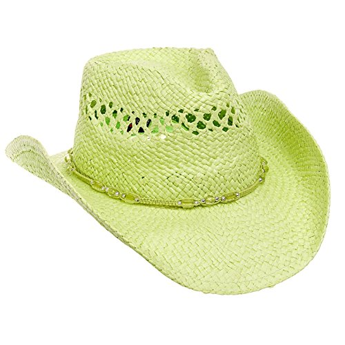MG Womens Straw Outback Toyo Cowboy Hat, Mint (Authentic Cowboy Hats)