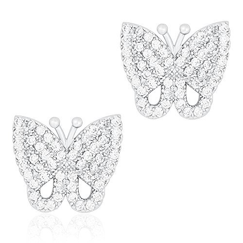 ORROUS & CO Legacy Collection 18K White Gold Plated Cubic Zirconia Butterfly Stud Earrings