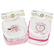 Bibs For Infant Boys & Girls - One Size Fits All 0-12 Month Old Babies - 100% Cotton With BPA Free Polyethylene Coating, 76% Polyester Backing & 24% Polyester Binding - Cute Colors & Designs - 10 Pack