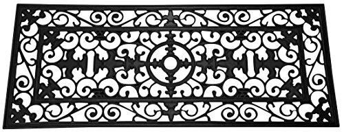 Fleur De Lis Wide Wrought Iron Rubber Mat 24 x 57 (Wrought Iron Rubber)