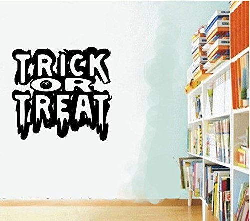 BIBITIME Halloween Wall Art English Words Sayings TRICK OR TREAT Quotes Decals for Living Room Porch Study Nursery Classroom Bedroom Shop Showcase Window Sticker]()