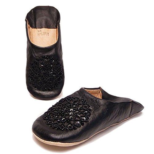 Kunterbuntbyhands Leder Babouche Pailletten Handverziert Schwarz Panteffeln Leder Puschen