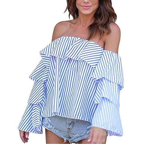 HARRYSTORE Mujeres atractivas fuera del hombro de manga larga camisa rayada Casual Tops camisa elegante blusa de encaje Azul