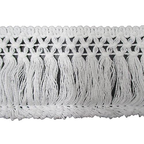 6 CM Wide Cotton Tassel Fringe Lace Trims Pack of 10 Yards (White)