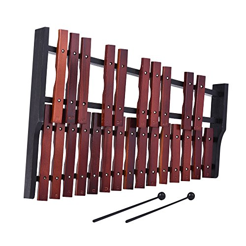 ammoon Wooden Xylophone Percussion Instrument with 2 Mallets (25 Notes)