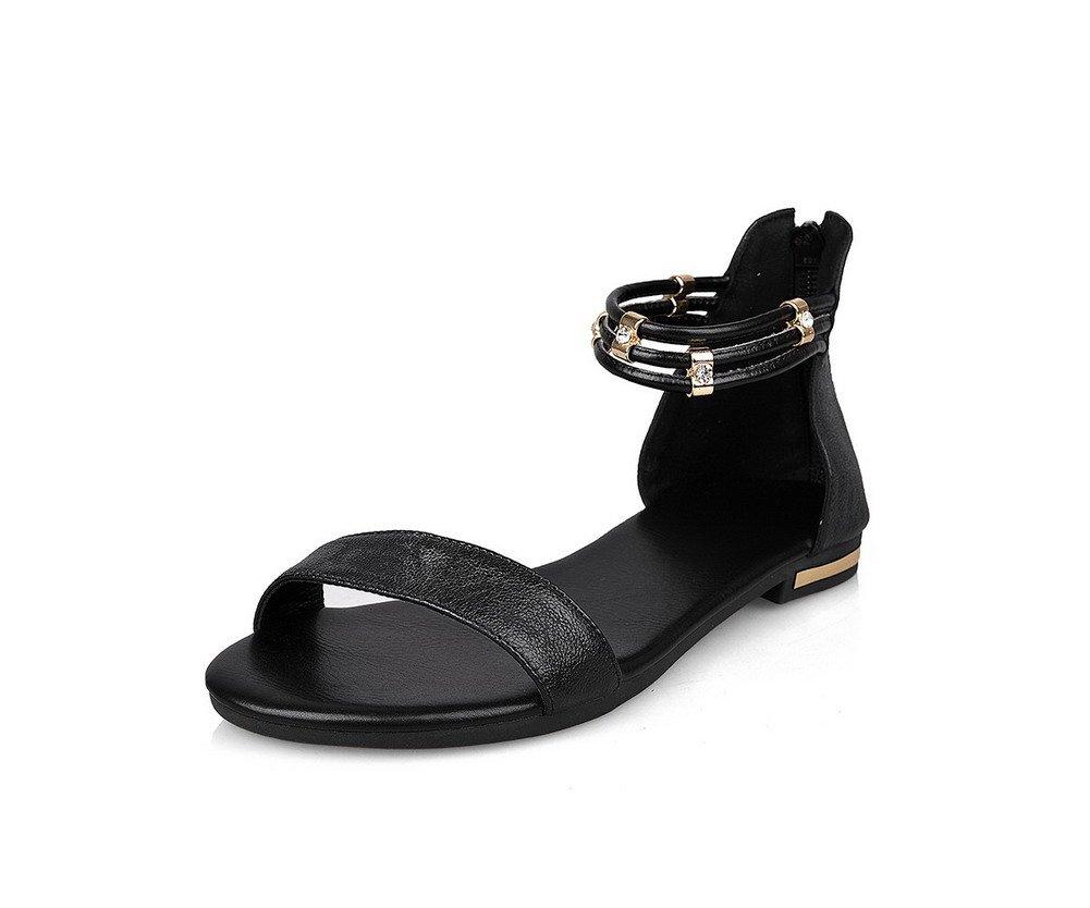 AllhqFashion Women's Soft Material Open Toe No Heel Zipper Solid Flats-Sandals, Black, 37