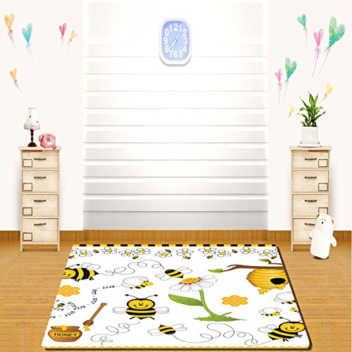 Capel Daisy - HAIXIA rugs Collage Decor Flying Bees Daisy Honey Chamomile Flowers Pollen Spring Animal Print Yellow White Black