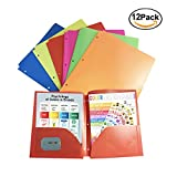 Topstar Plastic 2 Pocket School Office Folders Colors,for Letter Size Papers,3 Holes (Pack of 12 Assorted)