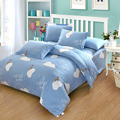 Yiweni The Spring And Summer Of Pure Cotton Bedding And Cotton  Teddy Bear   Blue  Suitable For 1 5 And 1 8 Meters Wide Bed
