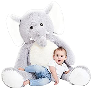 "Jumbo Plush Animal, Large, 49"" Elephant Stuffed Animal, Grey Plush with White Tummy"