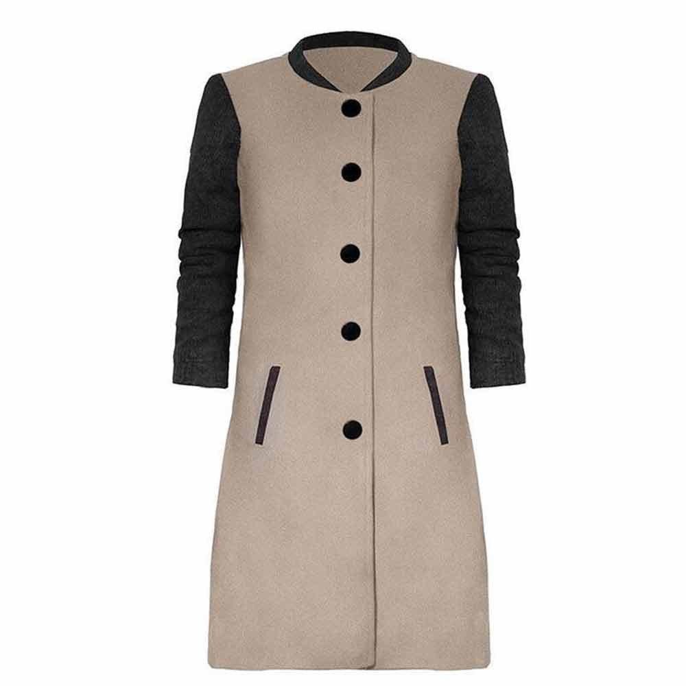 GREFER New Womens Long Coat Lapel Parka Jacket Cardigan Overcoat Outwear