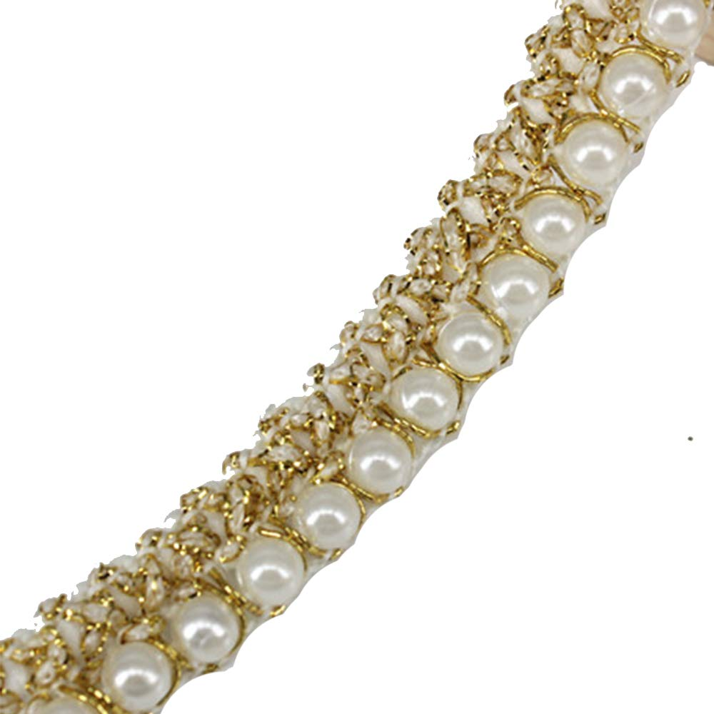 5yards Beaded Pearl White Gold Trimming Lace Ribbon Trim Scrapbooking Applique Embellishment Sewing Renda for Wedding Dress /t1224 Resources House