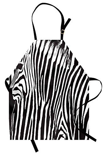 Lunarable Zebra Print Apron, Wild Zebra Design with Animal Profile Blended Over Itself Abstract Pattern, Unisex Kitchen Bib Apron with Adjustable Neck for Cooking Baking Gardening, Black and White
