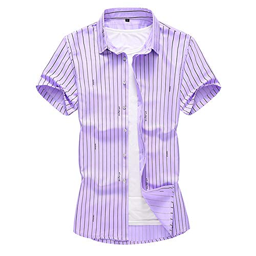(INVACHI Men's Classic Casual Vertical Striped Short Sleeve Business Shirts Purple)
