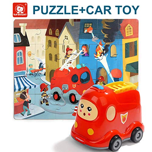 - TOP BRIGHT Floor Puzzles for Kids Ages 2-4 , 24 Pieces Puzzles for Kids Cars , Educational Puzzles for Toddler-Fire Truck