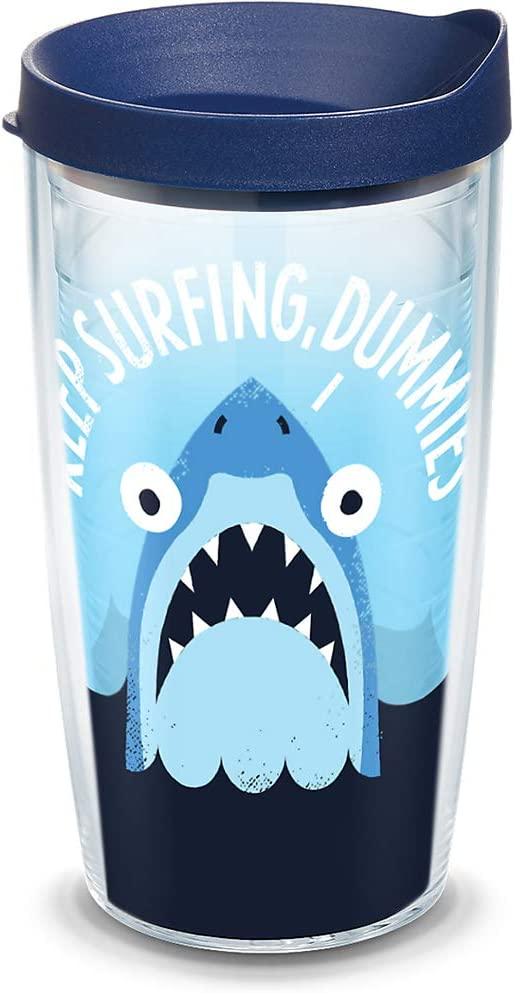 Tervis David Olenick - Keep Surfing Shark Insulated Tumbler with Wrap and Lid, 16 oz - Tritan, Clear