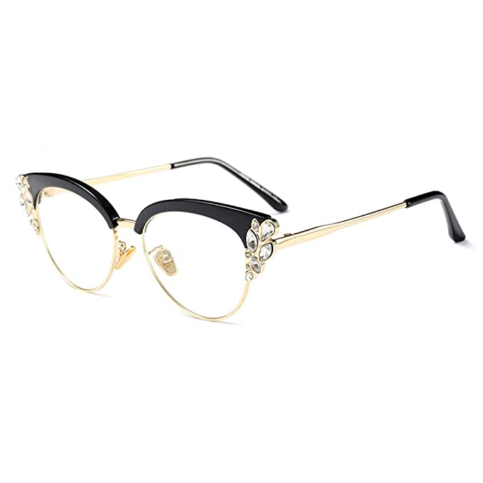 eaf1e3e7d394 Women Cat Eye Rhinestone Glasses Metal Frame Luxury Eyeglasses Female  Fashion (Black)