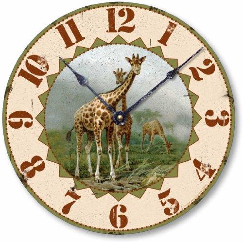 Item C5025 Vintage Style Giraffe Clock (10.5 Inch Diameter)
