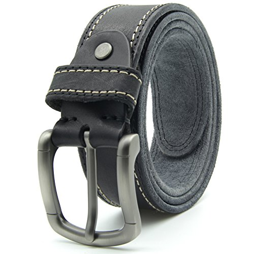 Leather Top Grain Piel - Mens Leather Belt Top Grain Leather with Brushed Pin Buckle for Jeans 1.5