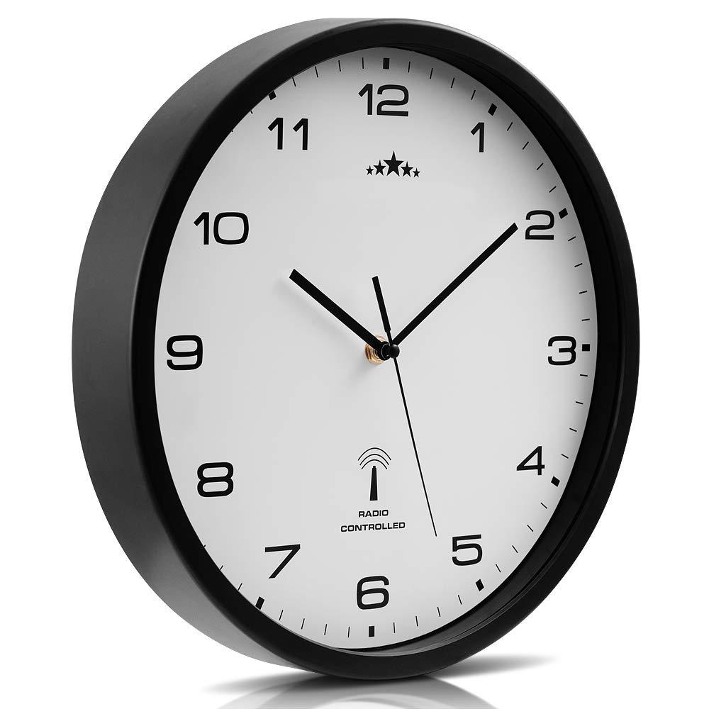 Monzana Wanduhr Funk /Ø 31 cm Gro/ß Wei/ß Automatische Zeitumstellung Ger/äuscharm Modern Funkuhr Funkwanduhr Uhr